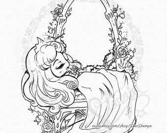 Sleeping Beauty DIGITAL STAMP Instant Download