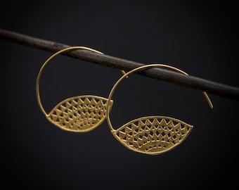 Geometric Aztec Tribal Sterling Silver or Gold Vermeil Hoop Earrings