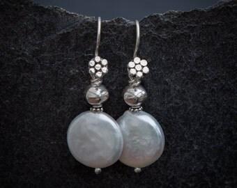 Pearl Earrings, Silver and Pearl Earrings, Coin Pearl Earrings, Drop Earrings