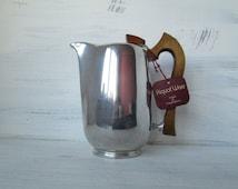 Vintage Mid Century Modern Picquot Ware magnailium coffee pot with sycamore wood handle • retro 50s kitchenalia • vintage wedding gift