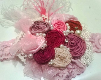 beautiful headband for baby girl crystals and beautiful pink and white details