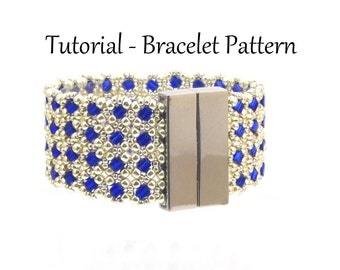 Beading Tutorial Stained Glass Window Bracelet, Beading pattern with Cube Beads, 8/0's, and 11/0's - Right Angle Weave Bracelet Pattern, PDF