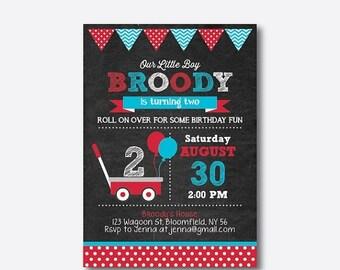 Red Wagon Birthday Invitation, Wagon Invitation, Wagon Party Invitation, Red Wagon Invitation, Boy Invite, Personalized, Chalkboard(CKB.184