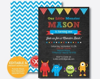 Instant Download, Editable Monster Birthday Invitation, Monster Invitation, Monster Party Invitation, Monster Bash, Chalkboard (CKB.31)
