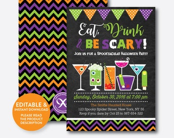 Instant Download, Editable Halloween Invitation, Eat Drink And Be Scary Invitation, Halloween Party Invitation, Chalkboard (CHI.13)