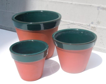 Vintage Clay Pots with Glazed Interior / 3 Sizes of Matching Pots / Great Condition and Color