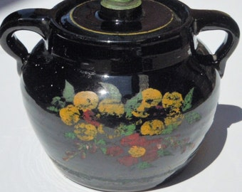 Baking Pot with Lid / Dark Black Glazed pot with Floral Paint and Stripe Details / Classic Bean Pot