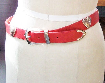 Vintage Leather Belt from Brighton / Heavy Red Leather with Silver Hearts
