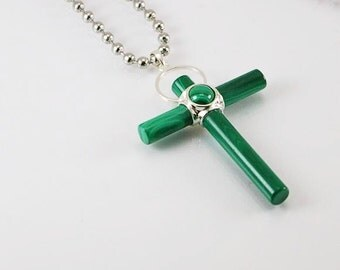 Malachite mens necklace with cross pendant with stainless steel chain, mens necklace, mens pendant, mens jewelry, cross, mens gift idea