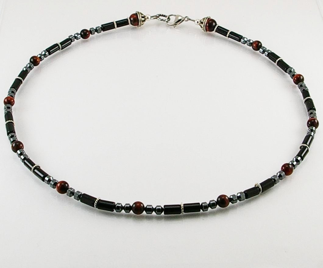 black onyx mens necklace with tigereye mens necklace
