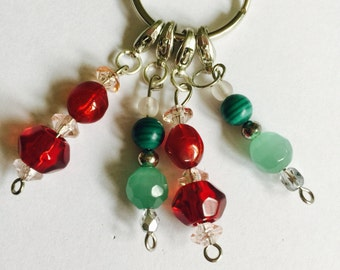 Green and red beaded stitch markers for crochet/knitting x4