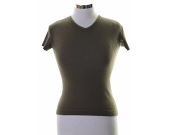 Lee Cooper Womens T-Shirt Top Size 8 Small Green Cotton