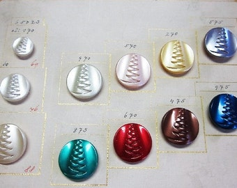 Salesman's Original Sample Card Pearlized Finish On Clear Glass Buttons.  'Zipper Design' Buttons   OneWomanRepurposed B 924