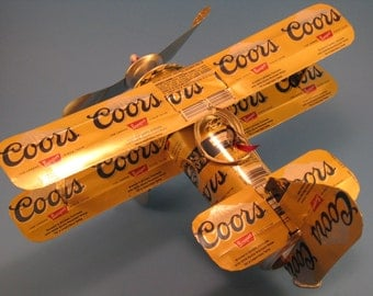 Coors Banquet Beer Can Airplane - Handcrafted-Wind Spinner-sun catcher-air plane