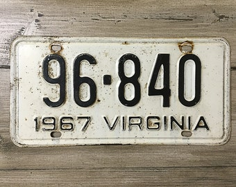 Vintage Virginia License Plate 1967 | Black White Rusty | Man Cave Decor | Old Collectible | For Him | Garage