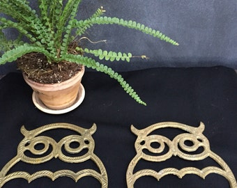 Two Vintage Brass Owl Trivets