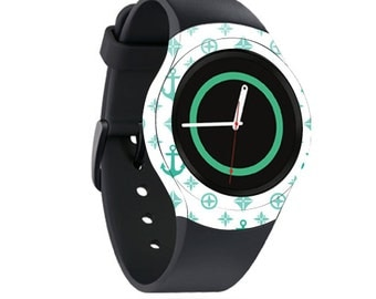 Skin Decal Wrap for Samsung Gear S2, S2 3G, Live, Neo S Smart Watch, Galaxy Gear Fit cover sticker Teal Designer