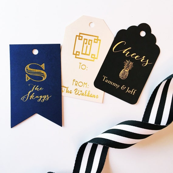Cheers wine tag, gift tag, wine tag, reception gift tag, party favor tag, wine label, hostess gift, foil stamped stationery