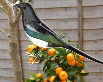 Fused glass magpie hanging ornament for indoors or outside