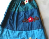 Kids clothing- 3 to 6 years old-Cotton dress-Kids clothing-Children clothing-Girls dress or skirt-Medium size-Handmade embroidered flowers