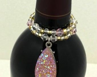 Pink Sparkles Wine Bottle Charm