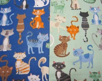 Cat Cotton Fabric by Makower UK called Crafty Cats Crowd in Teal and in Blue