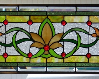 Stained Glass Window Hanging 30 1/4 X 12 1/4