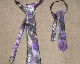 Boys & Men Camo traditional Ties Available in 22 camo colors. #18 TrueTimber Purple-satin in the fabric selection