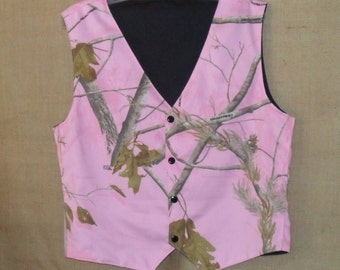 Boys and Men vest (Realtree Ap Pink Satin shown in pic) #8 in fabric selection 22 camo colors