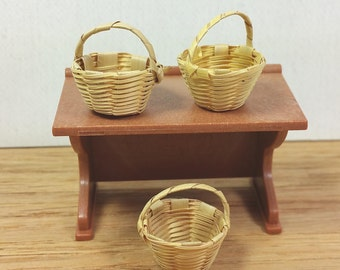 """MINIATURE WOVEN BASKETS, Set of 3, 7/8"""" tall with Handle, Vintage Dollhouse, Shop Supply, Decor"""