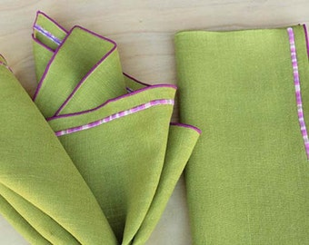 Embroidered Napkins, Green Linen Napkins, Embroidered Wedding Napkins, Cloth Napkins,Chartreuse Napkins,Custom Napkins, Set of 4, 20""