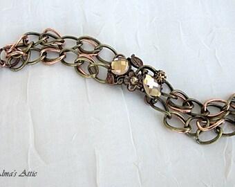 Rhinestone Bracelets, Topaz Rhinestone Bracelet, Brass Copper & Topaz Bracelet, Earth Tone Bracelet, Amber Glass Bracelet, Woodland Colors