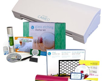 Silhouette Cameo 3 Cutting Machine  Vinyl and Glass Etching Starter Kits - 379.97 Value - NOW SHIPPING!!!