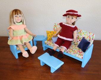 """AG or 18"""" Doll Furniture – Blue Living room set"""