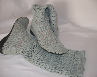 Summer outdoor boots pale blue linked from cotton yarn crochet openwork pattern.