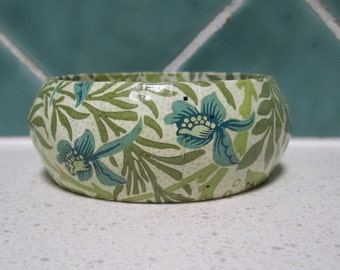 Vintage  Bangle - blue and green floral pattern