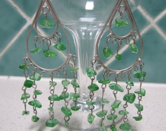 Vintage Silvertone Peridot Green Earrings - Chandelier - Boho - hook