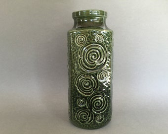 "Scheurich Keramik  ,, Jura""  282 / 26 Vintage green glaze fossil decor vase, height : 26 cm.  1970s   West Germany Pottery.   WGP vase."