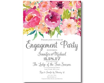 Engagement Party Invitation, Floral Engagement Invitation, Party Invitation, Engagement Invite, Floral Party Invitation #CL117
