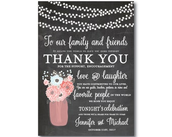 Rustic Thank You Card, Wedding Thank You Card, Thank You Favor, Rustic Wedding, Mason Jar Wedding, Thank You, Thank You Note #CL220