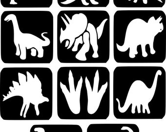 Refill Stencils Only #1 - 11 X Dinosaur Glitter Tattoo Stencils Refill Your Glitter Tattoo Kit