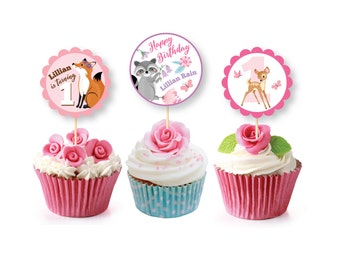 Baby Deer First Birthday Cupcake Toppers & Wrappers, Printable, Customized, DIY, Girl's First Party, Woodland party - Digital files
