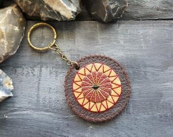 Brown leather keychain. Mandala keychain. Boho keychain. Bohemian keychain. Tribal keychain. Hippie keychain. Leather accessories. Boho chic