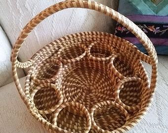 Vintage Sweetgrass Gullah Charleston Beverage Basket 3 Layered Handle Free Shipping