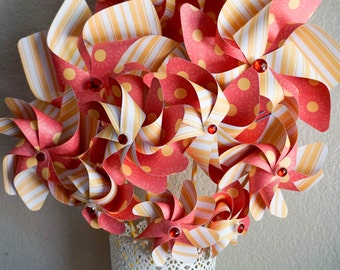 Paper Pinwheel Bouquet - Double Spinners - 10 pieces - party decoration, centerpiece, wedding decor