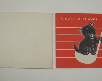 Vintage thank you note, 60s thank you note, kitten on note, retro thank you note, unused with envelope