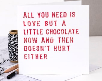 Friendship Card; Chocolate Lovers Card; Friend Card; Card For Friend; Love Chocolate Card; GC327
