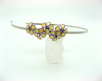 Headband with flowers, headband small flowers, flowers, yellow gold and purple, wedding, ceremony, model hairstyle hairstyle unique