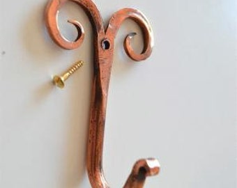 A beautiful handmade copper curled top hook CCT1