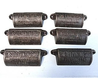 "A set of 6 antique style cast iron ""Old Printing shop, Portobello Rd, London, handles"